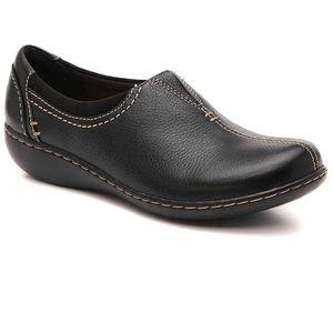 Clarks Women's Ashland Joy Loafer Black Leather 7W